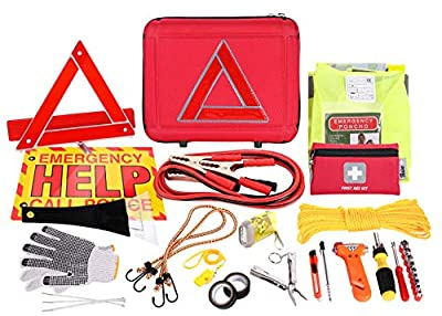 Thrive Roadside Assistance Auto Emergency Kit + First Aid Kit – Case - Contains Jumper Cables, Tools, Reflective Safety Triangle and More. Ideal Winter Accessory for Your car, Truck, Camper from Thrive