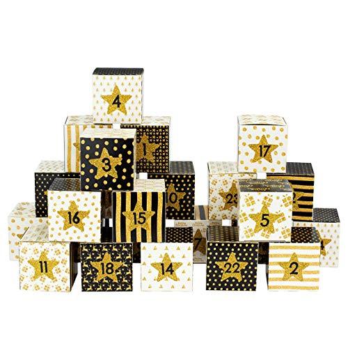 Papierdrachen DIY Adventskalender Kisten Set - Motiv schwarz-Gold - 24 Bunte Schachteln aus Karton zum Aufstellen und zum Befüllen - 24 Boxen - Weihnachten 2018