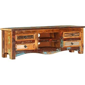 Festnight Tv Schrank Vintage Fernsehtisch Tv Lowboard Tisch Retro Fernsehschrank Holz Tv Board Recyceltes Massivholz 120 X 30 X 40 Cm Amazon De Kuche Haushalt