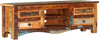 Antique-Style TV Stand, TV Console with Drawers and Compartments Entertainment Center, Solid Reclaimed Wood, 47.2