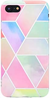 Case for iPhone 7 iPhone 8 case, Girly Luxury Rainbow Glitter Gold Foil Stripe Cute Design Girls Women Full Protective Lat...