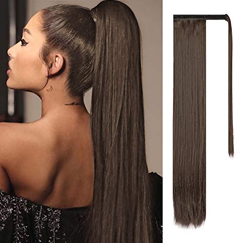 "FESHFEN 24"" Long Straight Wrap around Ponytail Extensions Synthetic Clip in Ponytail Hair Extensions Hairpiece for Women 130g, Medium Brown"