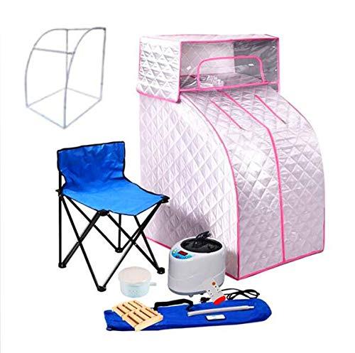HixGB Beweegbare stoomsauna tent met stoomgenerator, huishouden opvouwbaar verliezen gewicht detox-sauna huis met stoel + massage wiel, zilver + roze, 80 x 70 x 125 cm / 31,49 x 27,56 x 49.21 in