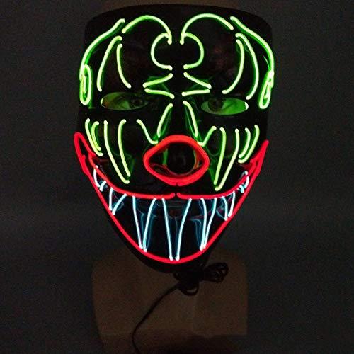 Sailormjy Led-masker, met 3 flitsmodi, voor Halloween, carnaval, party, kostuum, cosplay decoratie, werkt op batterijen (niet inbegrepen)