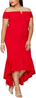 plus size red high low dress