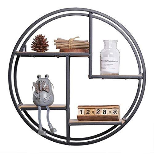 EXUVIATE Houten & Metaal gemonteerde planken Ronde Wandplank Eenheid Decoratieve Ophangplanken Eenheid Display Rack