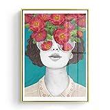 GQKLSA Nordique Affiches et Impressions Fleur Fille Portrait Mur Toile Peinture Photos pour Salon Décor À La Maison 60x90 cm