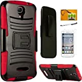 HTC Desire 520 (Cricket), LF 4 in 1 Bundle, Hybrid Armor Stand Case with Holster and Locking Belt...