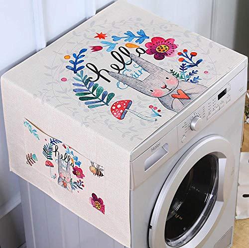 Funda para nevera, funda superior de lino y algodón, multiusos, con bolsillos laterales de almacenamiento, se adapta a la mayoría de lavadoras, frigoríficos, 65 x 170 cm