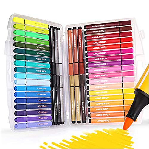 SAYEEC Watercolor Brush Marker Pen Set with 48 Assorted Colors Water Based Drawing Marker Medium Tip Sketching Pen with Foldable Case-Best for Adult Coloring Books/Manga/Comic/Calligraphy/Sketching