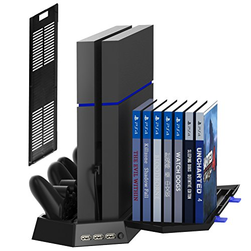 Kootek Vertical Stand for PS4 Slim/Regular Playstation 4 Cooling Fan Controller Charging Station with Game Storage and Dualshock Charger (Not for PS4 Pro)