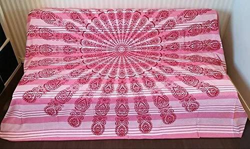 Goodforgoods Decoración con Diseño de Mandala y Elefantes India Ideal Yoga, Meditación Estilo Hippie Bohemio Colcha Cama Sofa Tapiz Pared Picnic Playa Piscina Terraza 100% Algodón XXL 210x240cm