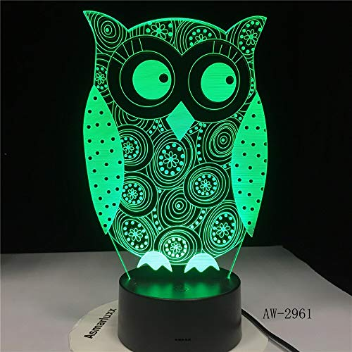 Wfmhra Eye Peeking Owl 3D Night Light 7 Colores Change LED Desk Table Lamp Art Child Bedroom Sleeping Decor Holiday Party Gifts