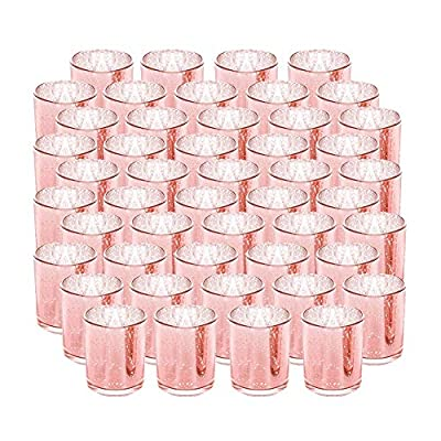 SUPREME LIGHTS ·2017· Rose Gold Votive Candle Holder-Set of 48 Wedding Centerpieces for Table, Mercury Glass Tealight Candle Holders Bulk for Birthday  Party  Home Decoration