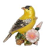 QIBAJIU Regalo Estatua Escultura Decoración Pequeña Estatua Figurita De PájaroCanarioEsmaltada EnMetal,Caja De Joyería Atesorada