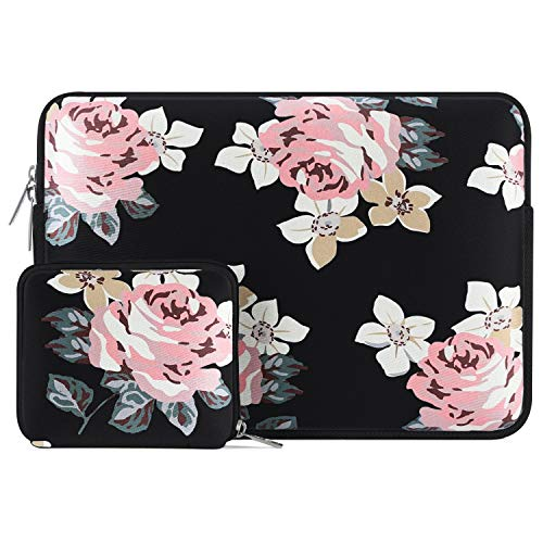 MOSISO Laptop Sleeve Compatible with 13-13.3 inch MacBook Pro, MacBook Air, Notebook Computer, Water Repellent Neoprene Rose Bag with Small Case, Black