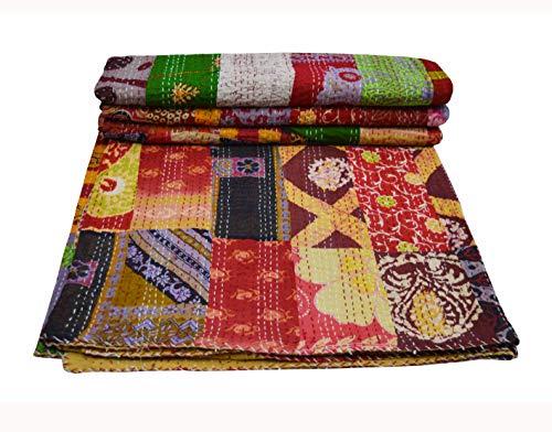 Colcha de patchwork Kantha, colcha india Sari, colcha impresa, colcha bohemia, manta bohemia, manta de algodón étnico indio, funda de cama reversible de 228 x 250 cm
