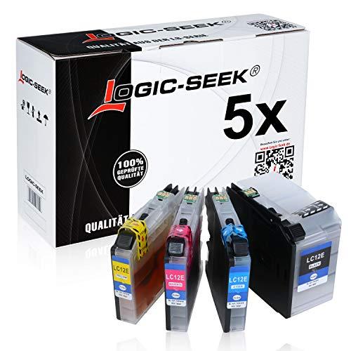 5 Logic-Seek Tintenpatronen kompatibel mit Brohter LC-12E MFC-J6925DW - Schwarz je 96ml, Color je 48ml