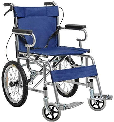 XUSHEN-HU Sillas de ruedas de acero engrosado, estructura plegable, silla de ruedas propulsada por el asistente, silla de viaje portátil, pesa solo 15 kg ligera