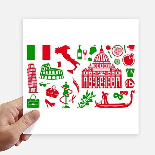 DIYthinker Italië Vlag Romeinse Theater Vierkant Stickers 20 Cm Muur koffer Laptop Motobike Decal 4 Stks