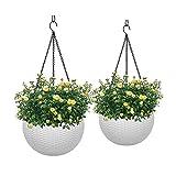 VIVOSUN Hanging Planters for Indoor Plants Self Watering Hanging Basket Flower Plant Pot White, 2...