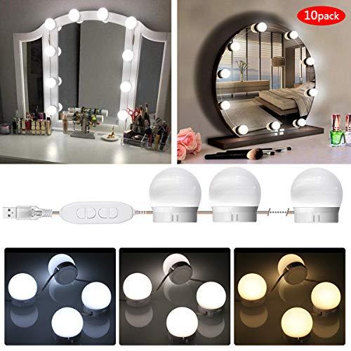 Tomshine Led Spiegelleuchte Schminktisch Beleuchtung, Hollywood-Stil Schminklicht, 10 Brightness Mit 3 Beleuchtungsmodi, Spiegellampe für Kosmetikspiegel, Badzimmer Spiegel Leuchte(10 Led-lampen)