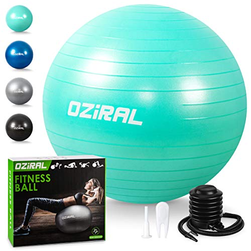 Oziral Pelota de Pilates 55cm,Anti-Burst Fitball Pilates Pelota para Yoga, Ejercicios, Gimnasia, Fitness, Equilibrio, incluidos Bomba y Manual de Usuario- Verde Azulado