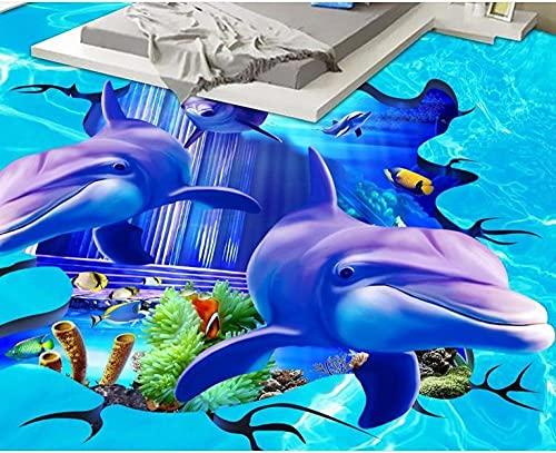 Custom 3d floor vinyl Home improvement photo wallpaper3D Flooring Fish sharks Painting Wallpaper Mural-400x280cm