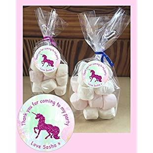 44th Street Ltd 24 Personalised Dark Pink Unicorn Glitter Faux Birthday DIY Gusseted Cellophane Party Favour Bags