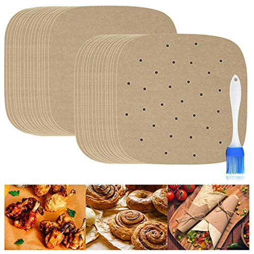 Air Fryer Parchment Paper, 150 Pcs 8.5 Inch Perforated Unbleached Square