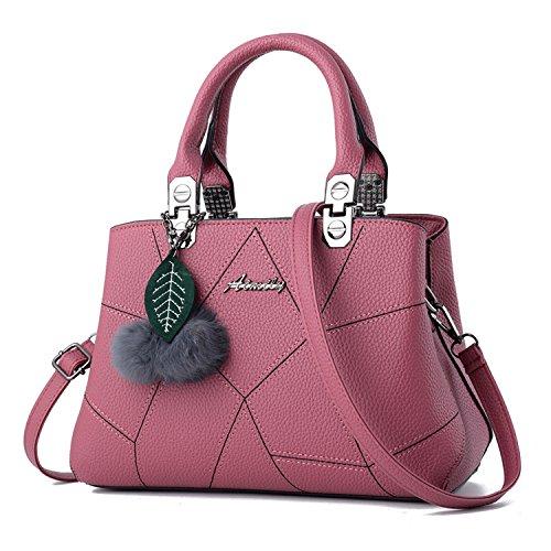 Hiigoo Women Fashion Handbags PU Leather Tote Bags Ladies Messenger Purses (Pink)