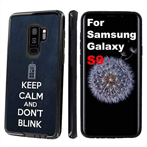 NakedShield Black Defender Phone Case Compatible for Samsung Galaxy S9,Keep Calm Don't Blink Print,Dual-Layer,Edge Protection,TPU Rubber with PC Shell,Designed in USA
