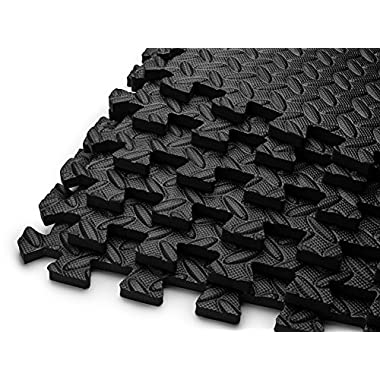 HemingWeigh Puzzle Exercise Mat EVA Foam Interlocking Tiles - Covers 144 Square Feet - Black (each pack contains 6 tiles for a total of 36 tiles)