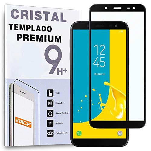 REY Protector de Pantalla Curvo para Samsung Galaxy J6 2018, Negro, Cristal...