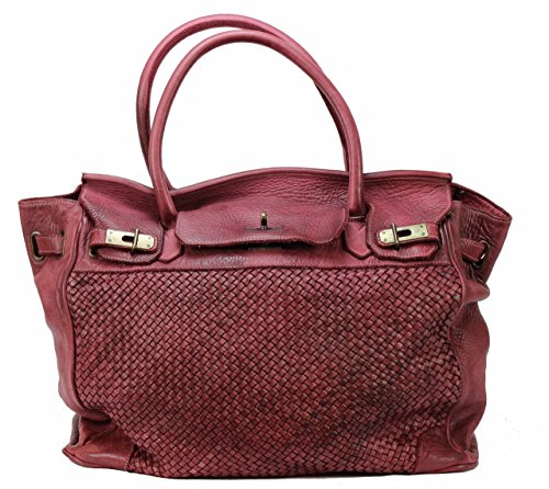 BZNA Bag Klara weinrot vintage Italy Designer Damen Handtasche Ledertasche Schultertasche Tasche Leder Shopper Neu