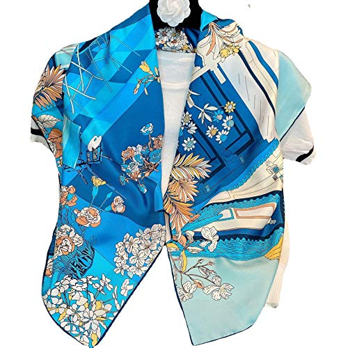 YLGG Bufanda de seda grande crepé liso pañuelo cuadrado de seda forjado estampado de flores de moda prensado a mano 100% seda de morera 90 * 90 cm (35.4 * 35.4in)