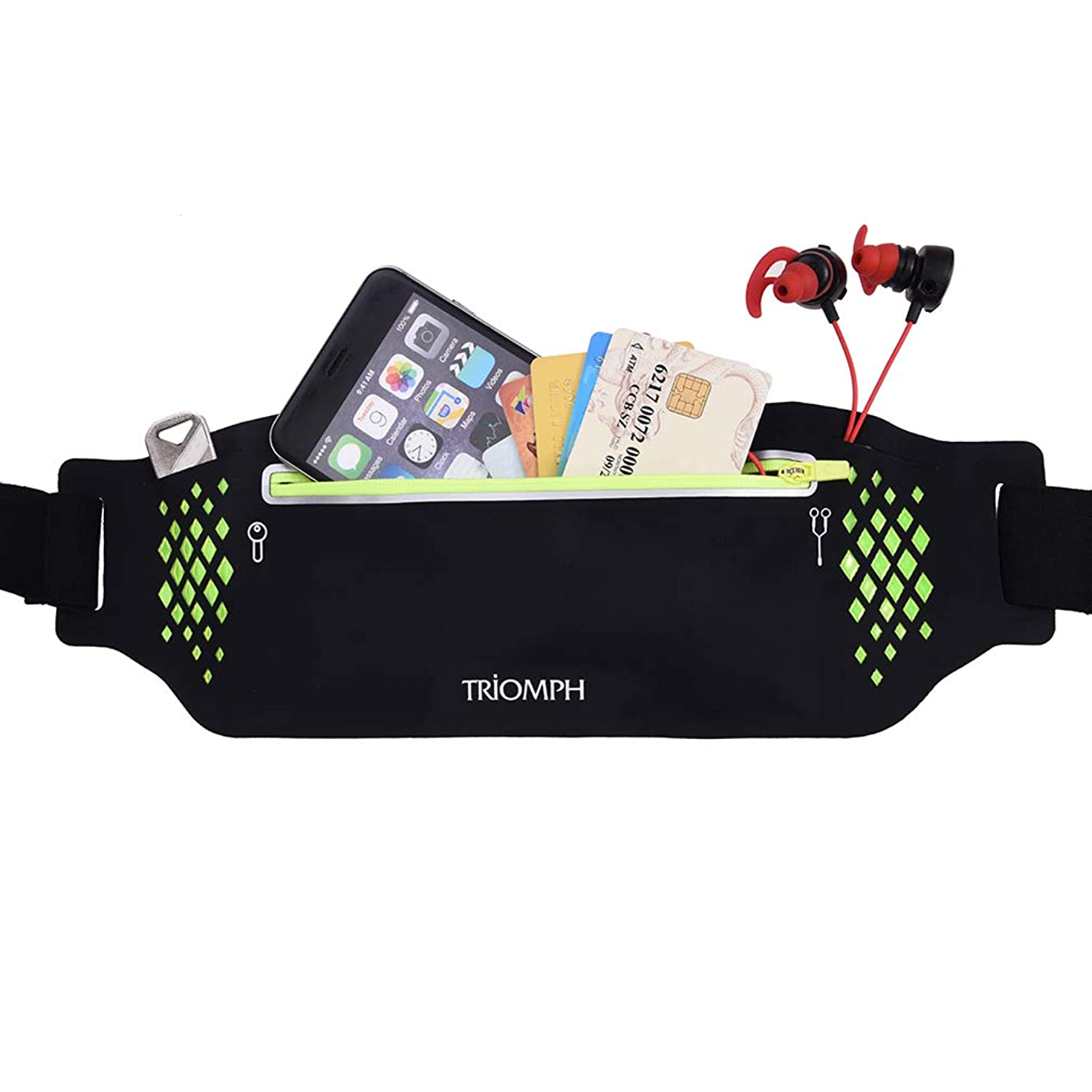Triomph Running Belt Waist Pack Fitness Waist Bag for Hiking, Water Resistant Runners, Adjustable Belt for iPhone Xs Max, XR and Any Large Smartphone, 3 Pockets w/Reflective Zippers, Earphone Hole