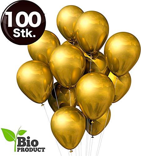 TK Gruppe Timo Klingler 100x Gold metallic Luftballons Ø 35 cm Luftballon - 100% Bio Gold Latexballons für Helium & Luft - Dekoration Hochzeit Hochzeitsdeko (100x Gold)