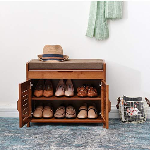 Estante de zapato de banco acolchado con 2 puertas de madera con Lift Up, taburete de almacenamiento minimalista y moderno en banquetas, gabinete de almacenamiento de bambú multifuncional