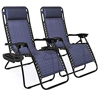 Best Choice Products Set of 2 Adjustable Steel Mesh Zero Gravity Lounge Chair Recliners w/Pillows and Cup Holder Trays Blue