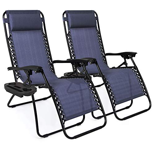 Best Choice Products Set of 2 Adjustable Steel Mesh Zero Gravity Lounge Chair Recliners w/Pillows and Cup Holder Trays, Blue