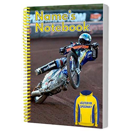 Vastervik-Speedway - Speedway tema personlig present - A5 spiralbunden anteckningsbok - lägg till valfritt namn eller text