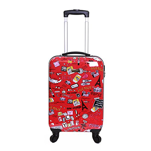 Karabar Hard Shell Cabin Carry-on Polycarbonate Suitcase Hand Luggage Bag 55 cm 2.7 kg 35 litres 4 Spinner Wheels, Dewberry Red