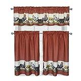 Decotex 3 Piece Window Treatment Kitchen Curtain Tier & Valance Set (36' Tier Set, Rooster)