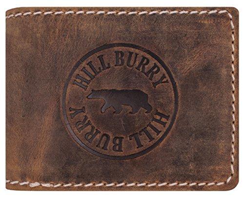 Hill Burry Geldbörse Leder Herren | Männer Portemonnaie aus echtem Leder | Großes Portmonee mit RFID Schutz | Vintage Geldbeutel mit Münzfach (Braun - Tan)