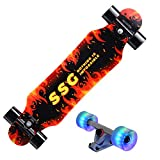 DFWYG Skateboard de 31'X 8', 7 Capas de Madera de Arce, Skateboard de Crucero Completo con Ruedas de Luces LED de Colores para Adultos, Niños, Adolescentes, Principiantes,Rojo