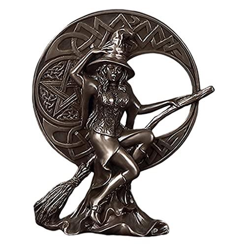 Gazechimp Arte Bruja Estatua Diosa de la brujería con pentáculo Figura Decorativa Escultura decoración del hogar Adorno Sala de Estar TV Estante artesanías - El 13x5x16cm