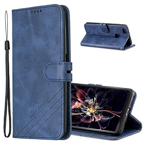 MRSTER Cover per Huawei P10 Lite, Semplice ed Elegante Book Style Internamente Silicone TPU Case Flip Cover in Pelle PU Premium Custodia per Huawei P10 Lite. Retro Blue