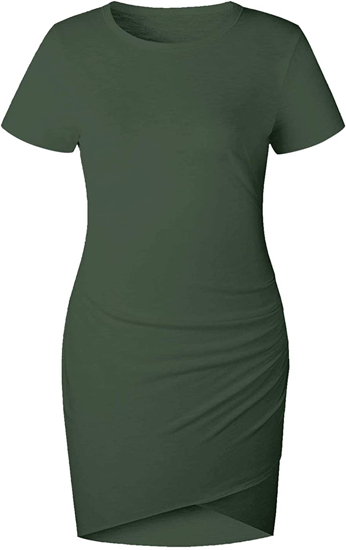 Women Casual Crew Neck Ruched Sleeveless Tank Bodycon Shirt Short Mini Dresses