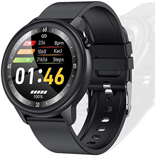 Smartwatch Temperatura del Reloj Inteligente Rastreador de Ejercicios a Prueba de Agua IP68 con Monitor de Frecuencia Cardíaca Notificación de Mensajes Podómetro Monitor de Sueño para Android iOS